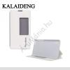 Kalaideng ICELAND II. tok álló, bőr (FLIP, oldalra nyíló, asztali tartó funkció, View Window) FEHÉR [Huawei Honor 6]
