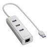 Sharkoon USB Hub - Aluminium Hub +RJ45 (Ezüst; 3port USB3.0 + 1port RJ45) (4044951016839)