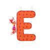 LILLIPUTIENS E betű - textil