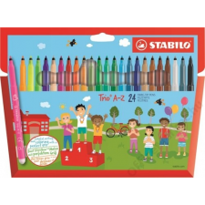 STABILO Filctoll készlet, 0,7 mm, STABILO Trio A-Z, 24 különböző szín (TST37824) filctoll, marker