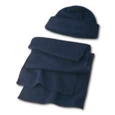 Polár sapka + sál, kék (Polár sapka és sál készlet. 200 g/m2. Sál méret: 150 × 25 cm, sapka méret:)