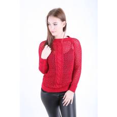 Impresszió Bordó környakas horgolt pulóver