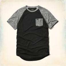 Hollister póló- fekete, zsebes