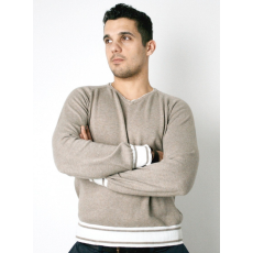 M méret Springfield férfi pulóver- V nyakú, bézs
