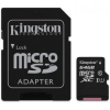 Kingston microSDXC memóriakártya, 64 GB, Class 10 + adapter (SDC10G2/64GB)