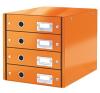 Leitz Irattároló, laminált karton, 4 fiókos, LEITZ Click&Store, narancs irattartó