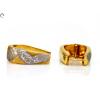 Bicolor vésett arany fülbevaló