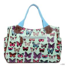 Miss Lulu London L1105B - Miss Lulu Oilcloth bevásárló táska táska pillangó zöld