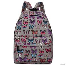 Miss Lulu London E1401B - Miss Lulu nagyméretű hátizsák táska pillangó szürke