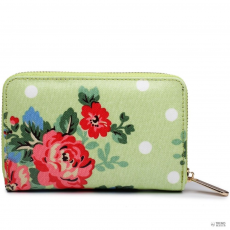 Miss Lulu London L1580F - Miss Lulu kicsi Oilcloth pénztárca Flower Polka Dot zöld
