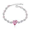 Fehérarannyal bevont szív karkötő rózsaszín és színjátszó Swarovski kristályokkal + AJÁNDÉK DÍSZDOBOZ (0524.)