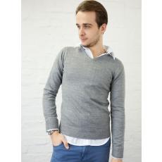 XS méret Basic V nyakú férfi pulóver