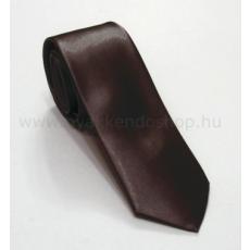 Szatén slim nyakkendõ - Sötétbarna