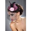 Lívia Corsetti Mályva rózsaszín mini kalap hajdísz fekete fátyollal, tolldísszel, szatén rózsával