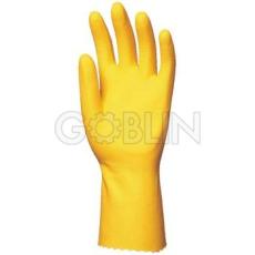 Euro Protection Háztartási gumikesztyû, vegyszerálló, sárga, 0,5 mm, pamutbolyhozott belsõ, 30cm, 10 pár