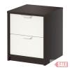 ASKVOLL 2-fiókos szekrény, fekete-barna, fehér C SALE PARTNER