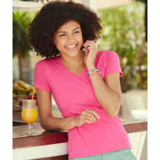 Fruit of the Loom FoL Lady-Fit V-Neck T, 61-382, fuxia (FoL Lady-Fit V-Neck T, 61-382, fuxia)