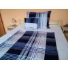 100% pamut 3 részes ágynemű garnitúra huzat extra nagy méretű 140x220 cm paplanhuzattal - kék - fehér