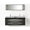 Beliani Fekete fürdoszoba bútor + két mosdó + tükör - Fürdoszoba szekrény - MALAGA