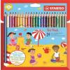 STABILO Színes ceruza készlet, vastag, háromszögletű, hegyezővel, STABILO Trio, 18 különböző szín (TST20324)
