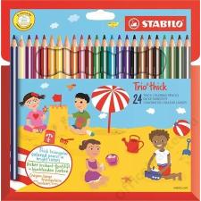 STABILO Színes ceruza készlet, vastag, háromszögletű, hegyezővel, STABILO Trio, 18 különböző szín (TST20324) színes ceruza