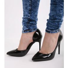 Impresszió Fekete lakk tűsarkú cipő