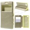Notesz / mappa tok - ARANY - oldalra nyíló ablakos flip cover, hívószámkijelzés, bankkártya tartó, szilikon belsõ, mágneses záródás - SONY Xperia Z5 Compact