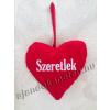 Piros szív 13 cm hímzett SZERETLEK felirattal