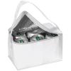 Mini hűtőtáska vállpánttal, fehér (Egyszerű, mini hűtőtáska vállpánttal 6 x 0,33 literes italos)