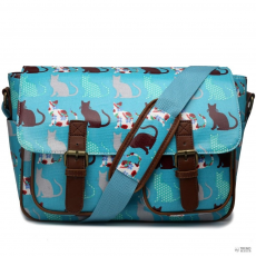 L1107CT - Miss Lulu London Oilcloth táska Cat Teal