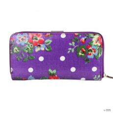 L1109F - Miss Lulu London Oilcloth pénztárca Flower Polka Dot lila