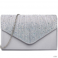 LY1682 - Miss Lulu London Structupirosgyémánt pöttyded Envelope Táska Clutch táska ezüst