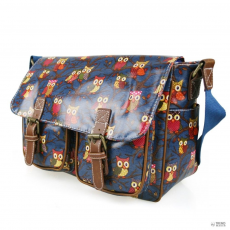 L1107W - Miss Lulu London Oilcloth táska Owl Navy