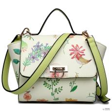LG1637 - Miss Lulu London bőr stílus virágos Print Winged táska válltáska táska zöld