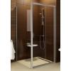 Ravak Blix BLDP2-100 toló rendszeru, kétrészes zuhanyajtó szatén kerettel, transparent edzett biztonságiüveg betéttel