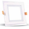 Üveg keretes LED panel (négyzet) - 18 Watt - meleg fényű