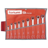 Fortum racsnis csillag-villás kulcs klt. 9db, 61CrV5/S2, mattkróm; 8-10-12-13-14-16-17-18-19mm, 72 fog, műanyag tartó + vászon