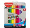 """MAPED Színes ceruza készlet, háromszögletű, fém doboz, MAPED """"Color\´Peps"""", 18 különböző szín színes ceruza"""