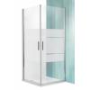 Roltechnik Tower Line TCO1 aszimmetrikus dupla nyílóajtó zuhanykabin 90x100, ezüst profillal, csíkos üveggel
