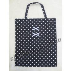 Fekete pöttyös táska masni dísszel 35x40 cm
