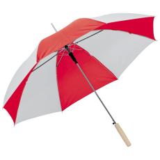 Kétszínû automata esernyõ, piros/fehér (Kétszínû automata esernyõ, egyenes fa fogantyúval, fém)