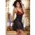 Lívia Corsetti Livco Corsetti Hasida szexi fekete hálóing piros flitterekkel S
