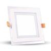 VTAC LED panel üveg kerettel - négyszög (12 Watt) meleg fehér