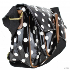 G1108D2 - Miss Lulu London Oilcloth Medium táska Polka Dot fekete