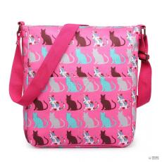LC1644CT - Miss Lulu London Regularmattte Oilcloth szögletes táska Cat rózsaszín