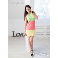 Lapierre LP 052 Pink-sárga-zöld csíkos hátán pántos ruha