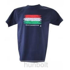 Magyarország feliratos, zászlós póló sötétkék , M méret