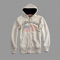 Alpha Industries Flag Zip Hoody - off white pulóver