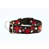 Sokdog fekete, piros virágmintás nyakörv L