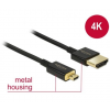 DELOCK Cable High Speed HDMI with Ethernet - HDMI-A male > HDMI Micro-D male 3D 4K 1 m Premium...